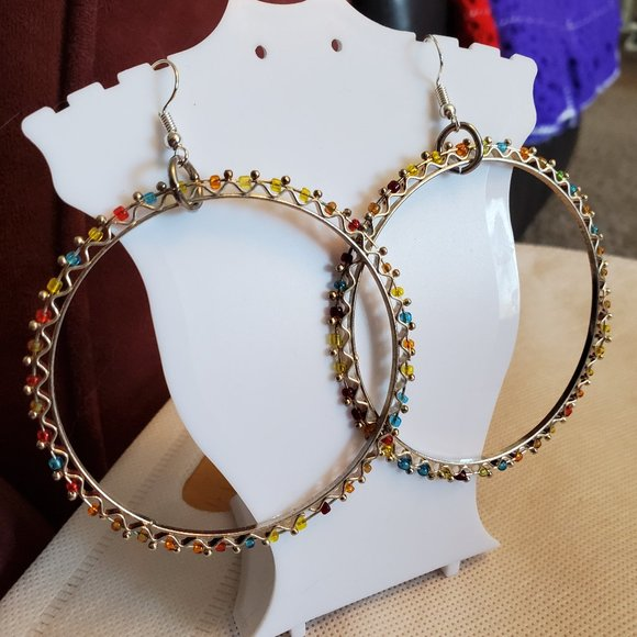 """2.5"""" Silver Tone Hook Color Bead Hoop Earrings NWT"""
